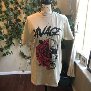 RUE 21 Savage Skull and Rose Oversized T-Shirt | M